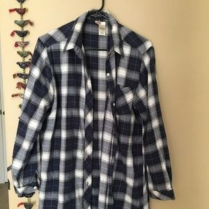 Tops - Blue and white plaid button up.